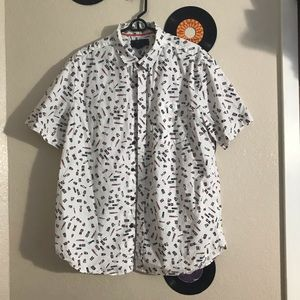 Men's White Patterned 21 Men Button-Up Shirt